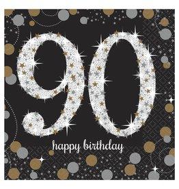 Amscan Sparkling Celebration 90th Bev. Napkins - 16ct.