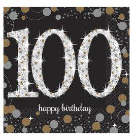Amscan Sparkling Celebration 100th Bev. Napkins - 16ct.