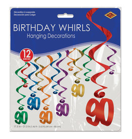 Beistle 90th Birthday Whirls - 12ct.