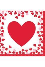 Amscan Confetti Hearts Bev. Napkin - 16ct.