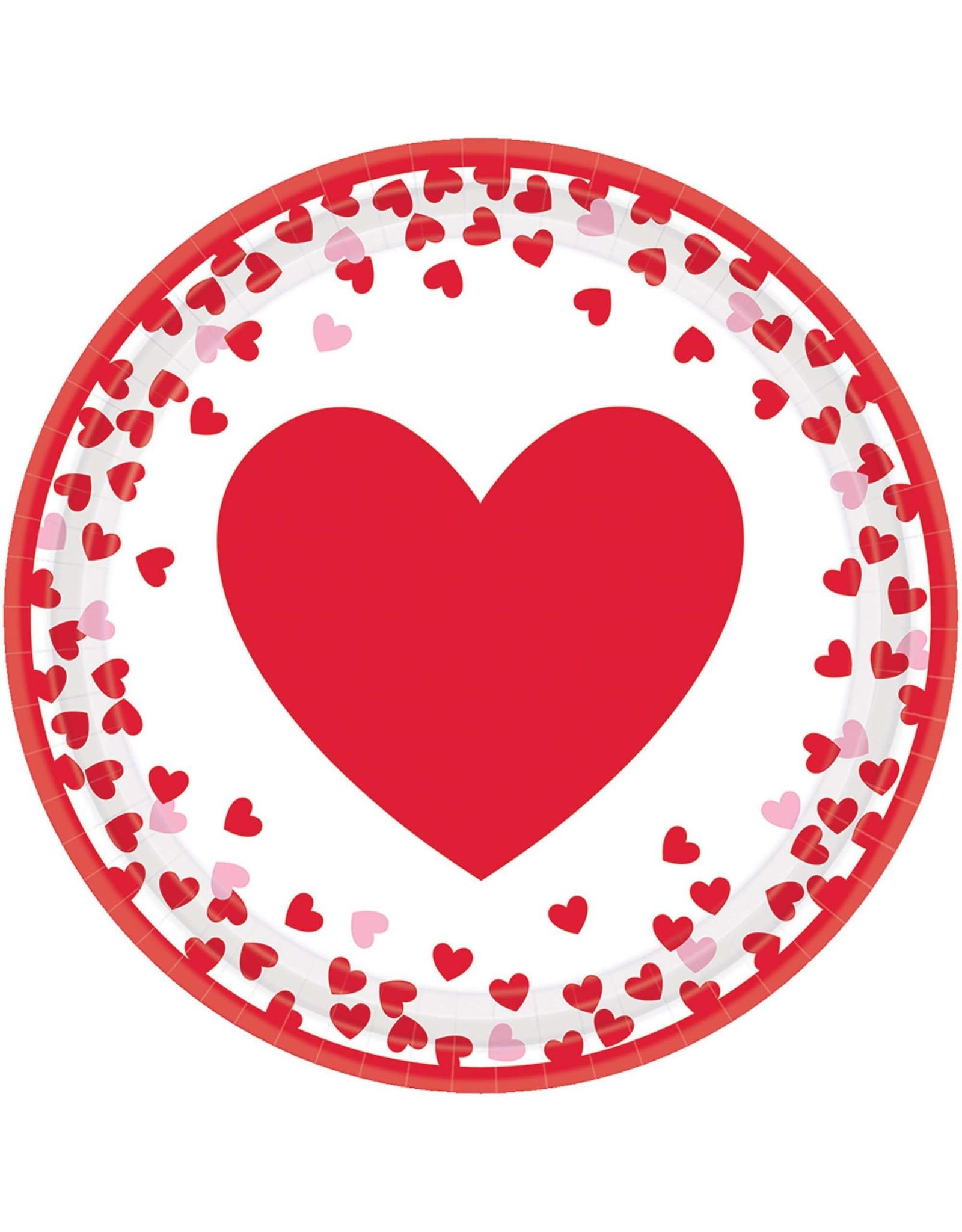 Amscan Confetti Hearts 7in Plate - 8ct.