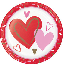 """creative converting Sprinkled Hearts 7"""" Plate - 8ct."""