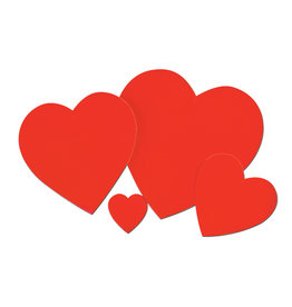 """Beistle 4"""" Red Heart Cutout - 1ct."""