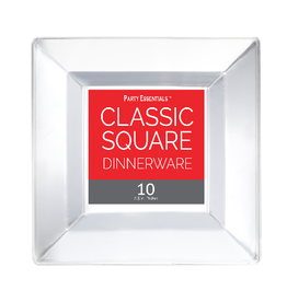 """northwest 6.5"""" Clear Square Plates - 10ct."""