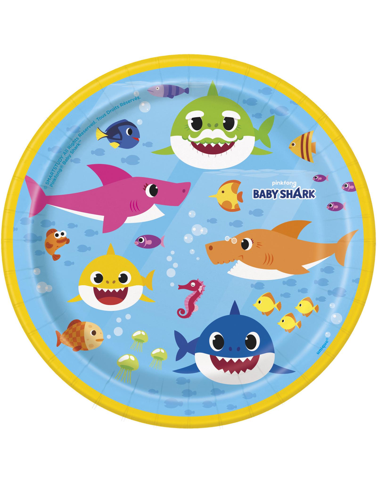 "unique Baby Shark 7"" Plates - 8ct."