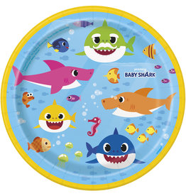 "unique Baby Shark 7"" Plates - 8ct."