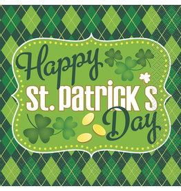 unique St. Patrick's Day Argyle Lunch Napkins - 16ct.