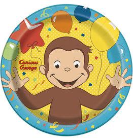 """unique Curious George  9"""" plates - 8ct."""