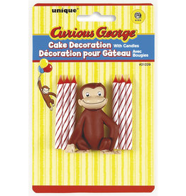 unique Curious George Cake Topper w/ Candles