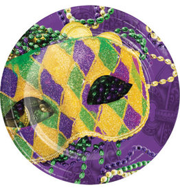 """Party Creations Masks Of Mardi Gras 9"""" Plate - 8ct."""