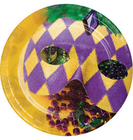 """Party Creations Masks Of Mardi Gras 7"""" Plate - 8ct."""
