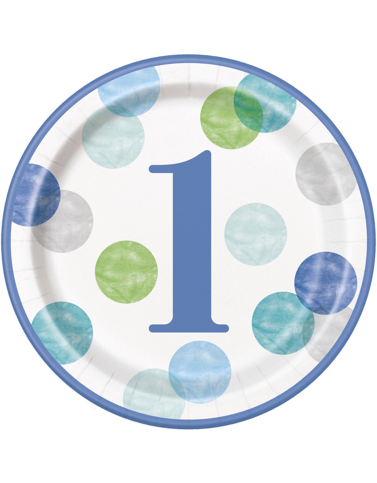 "unique Blue Dots 1st Birthday 9"" - 8ct."