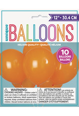 "unique 12"" Pumpkin Orange Balloons - 10ct."