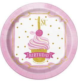 """unique Pink & Gold 1st Birthday 7"""" Plate - 8ct."""