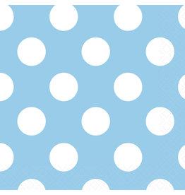 unique Powder Blue Dots Bev. Napkins - 16ct.