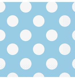 unique Powder Blue Dots Lunch Napkins - 16ct.
