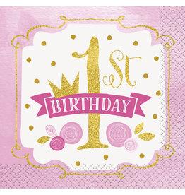 unique Pink & Gold 1st Birthday Bev. Napkins - 16ct.