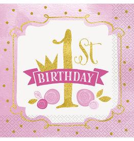 unique Pink & Gold 1st Birthday Lun. Napkins - 16ct.