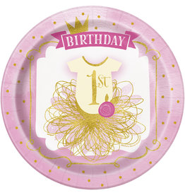 """unique Pink & Gold 1st Birthday 9"""" Plates - 8ct."""