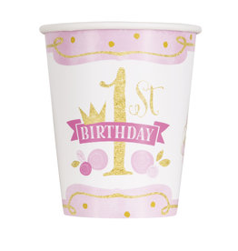 unique Pink & Gold 1st Birthday 9oz Cups - 8ct.