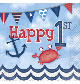 unique Nautical 1st Birthday Bev. Napkins - 16ct.