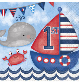 unique Nautical 1st Birthday Lun. Napkins - 16ct.