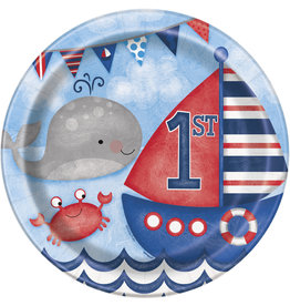 "unique Nautical 1st Birthday 9"" Plates - 8ct."