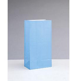 unique Powder Blue Paper Party Bags - 12ct.