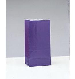 unique Purple Paper Party Bags - 12ct.