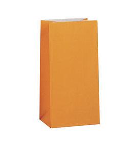 unique Orange Paper Party Bags - 12ct.