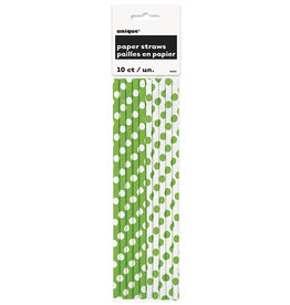 unique Lime Green Dot Paper Straws - 10ct.