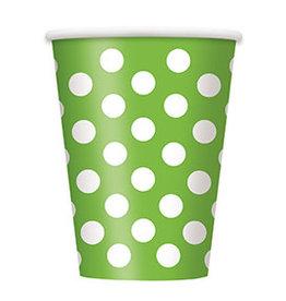 unique Lime Green Dots 12oz Cups - 6ct.