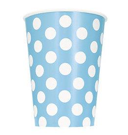 unique Powder Blue Dots 12oz Cups - 6ct.