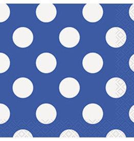 unique Royal Blue Dots Bev Napkins - 16ct.