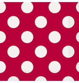 unique Ruby Red Dots Bev. Napkins - 16ct.