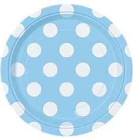 """unique Powder Blue Dots 7"""" Plate - 8ct."""