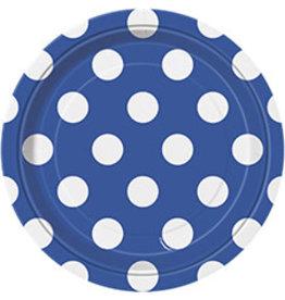 """unique Royal Blue Dots 7"""" Plate - 8ct."""