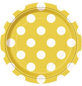 "unique Sunflower Yellow Dots 7"" Plates - 8ct."