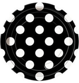 """unique Black Dots 7"""" Plates - 8ct."""