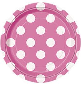 """unique Hot Pink Dots 7"""" Plates - 8ct."""