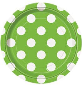 """unique Lime Green Dots 7"""" Plates - 8ct."""