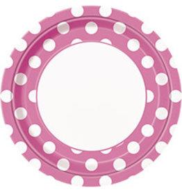 """unique Hot Pink Dots 9"""" Plates - 8ct."""