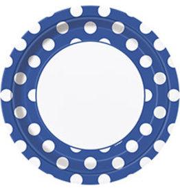 """unique Royal Blue Dots 9"""" Plates - 8ct."""