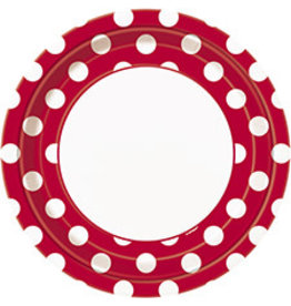 """unique Ruby Red Dots 9"""" Plates - 8ct."""