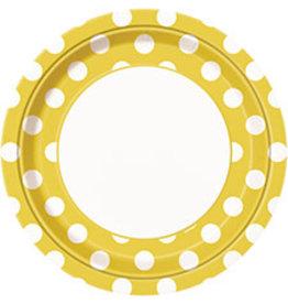 "unique Sunflower Yellow Dots 9"" Plates - 8ct."