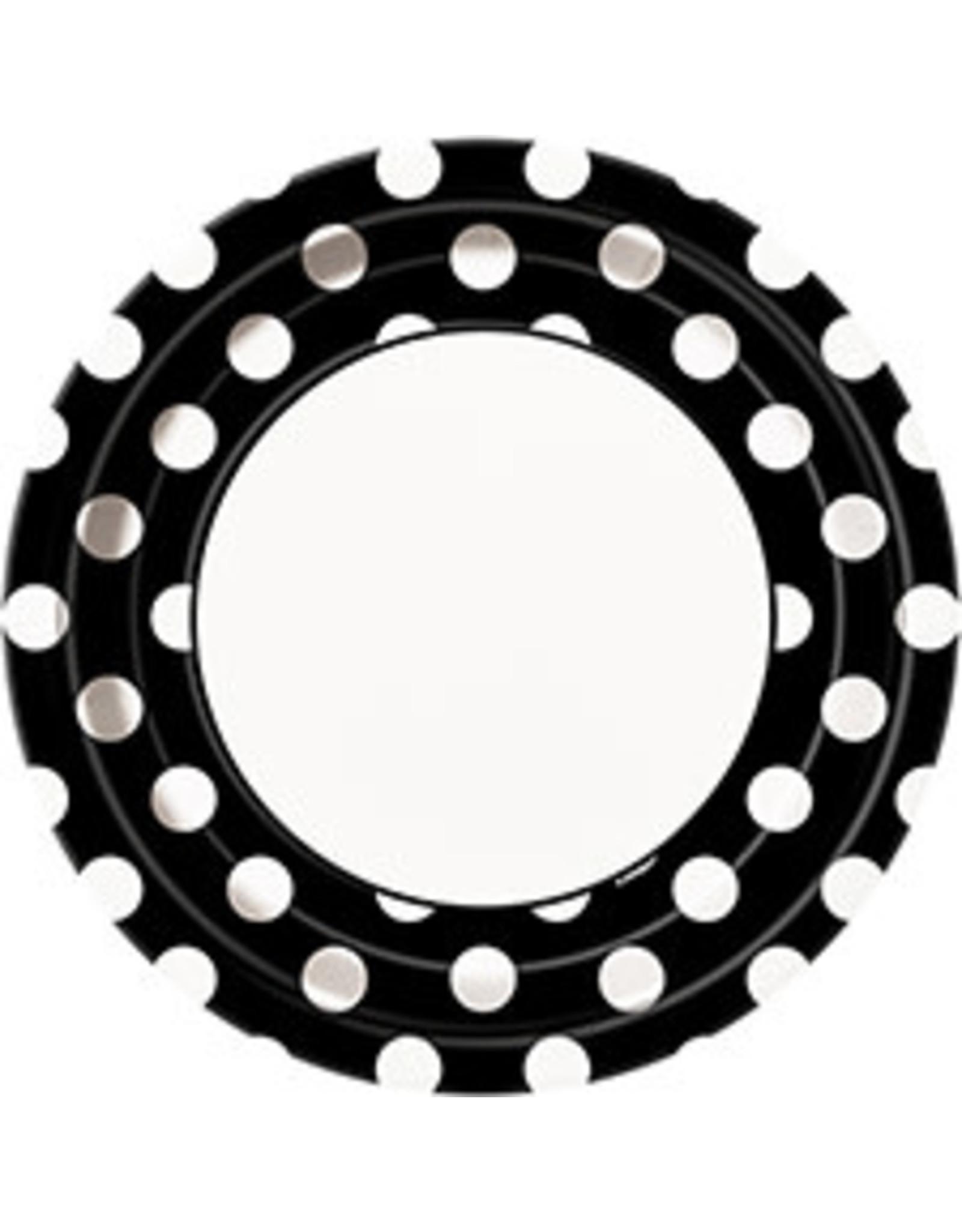"""unique Black Dots 9"""" Plates - 8ct."""