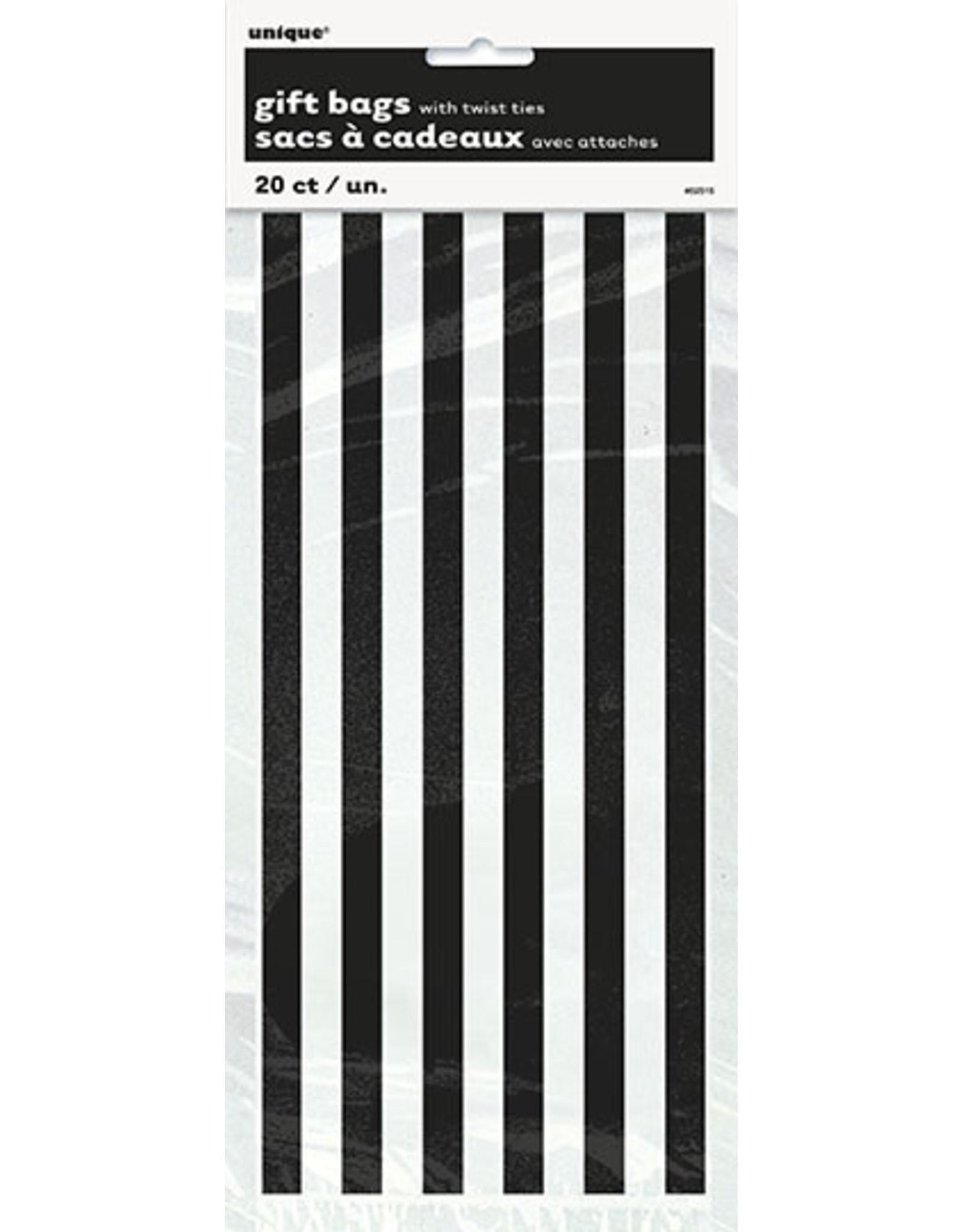 unique Black Stripe Cello Bags - 20ct.