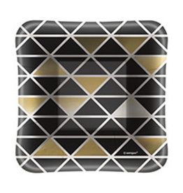 "unique Black & Gold Sq. 5"" Plate - 8ct."