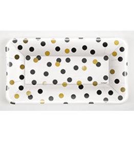 unique Rectangle Black & Gold Dot Plates - 8ct.