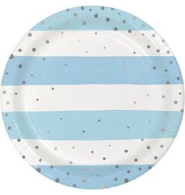 "creative converting Blue & Silver Celebration 7"" Plates - 8ct."